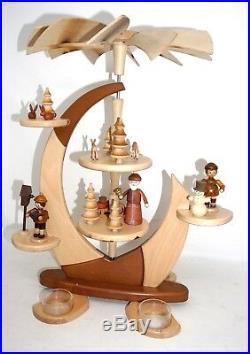 Pyramide Zeidler Segel mit Figuren 41cm Teelichter natur benutzt