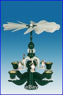 Pyramidenleuchter 5 Adventengel Grün Höhe 45cm NEU Tischpyramide Weihnachten