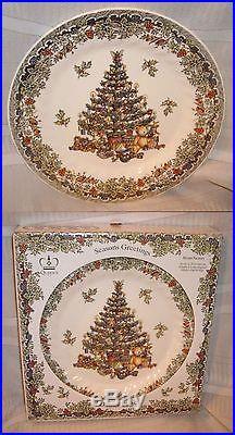 QUEENS MYOTT Dinner Plates Seasons Greetings CHRISTMAS TREE Holly-Box of 4 NEW