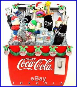 RARE Enesco Coca-Cola Lighted Multi-Action Cooler Winter Wonderland Music Box