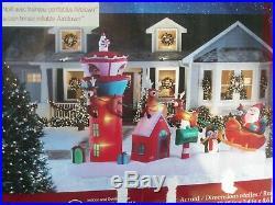 RARE Gemmy Christmas 13' Lighted Santa Sleigh Control Tower Inflatable Airblown