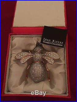 RARE JOAN RIVERS LARGE WHITE & GLASS 2006 BEE ORNAMENT withSATIN BOX + CARD