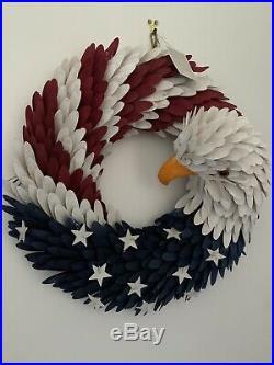 RARE Pier 1 22 Americana Patriotic American Eagle Flag Wood Curl Wreath HTF NWT