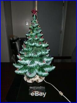 RARE Vintage 24 Flocked, Lighted, Musical Ceramic Christmas Tree Atlantic Mold