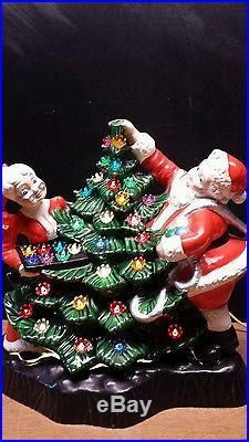 RARE large Vintage Ceramic Christmas Tree Mr Mrs Santa Claus Lights 15 × 16