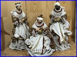 RAZ Import 14.75 Three Wisemen Winter White Cream Bronze Nativity Christmas NEW