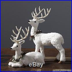RAZ's Christmas White Furry Deer 12.5in Set of 2, New