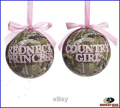 REDNECK PRINCESS & COUNTRY GIRL Camo Christmas Ornaments, set of 2