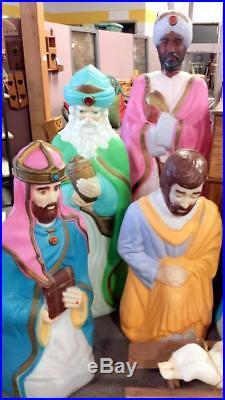 REDUCED RARE Huge 5 feet Tall Blow Mold Chirstmas Nativity 7 pc set church