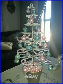Rachel Ashwell Shabby Chic Couture Pink/blue Beaded Christmas Xmas Tree-rare