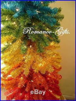 Rainbow Slim Pencil Pre-Lit Christmas Tree 5 ft high by 22 Gay Pride LGBT
