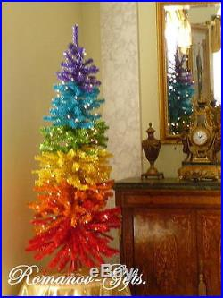 Rainbow of colors Slim Pre-Lit Unicorn Christmas Tree 7 ft high by 36