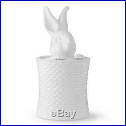 Rare Williams-sonoma Bunny Basketweave Cookie Jar -sring Décor Nib