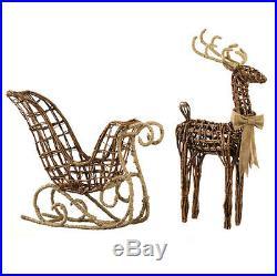 Raz ImportsLarge 29.5 Glittered Sleigh & ReindeerChristmas/Brown Twig/Deer