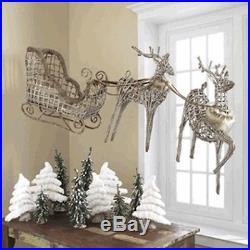 Raz ImportsLarge 33 Faux Fur/Vine Sleigh & ReindeerChristmas/Brown Twig/Deer