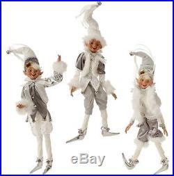 Raz Imports 16 Posable White & Silver Christmas Elf Ornaments Set of 3