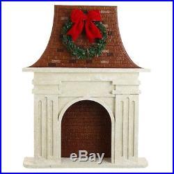 Raz Imports Fireplace New Hard To Find Retired Xmas Decor Prop Wreath Ribbon Bo