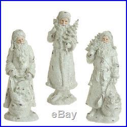 Raz Imports (Set of 3)12 Vintage White Father Christmas/Santa withtree/sack bag
