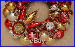 Red & Gold Vintage Christmas Ornament Wreath Mercury Glass 17.5
