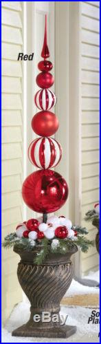 Red & White 45 Finial Stake Ball Ornament Christmas Outdoor Holiday Yard Decor