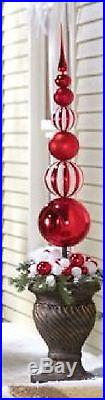 Red & White Finial Stake Ball Ornament Christmas Outdoor Holiday Yard Decor 45