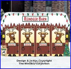 Reindeer Barn Wood Outdoor Yard Art, Christmas Reindeer Barn Wood Lawn Decor