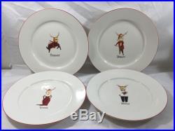 Reindeer Dinner Plates Christmas Holiday Set of 4, New, E020