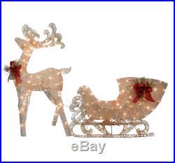 Reindeer Pulling Sleigh Warm White Light Display Christmas Holiday Decor X-mas
