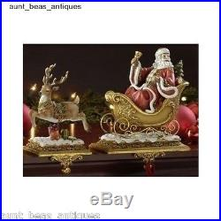 Reindeer Stocking Holders Set Santa Claus Christmas Pr 2 Victorian Home Decor