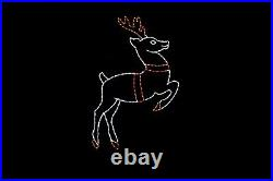 Reindeer Taking Off LED light display metal wireframe outdoor Christmas Decor