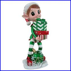 Reson 17819 Elf Statue Holding Gift Box & LED Lighted Christmas Ornament, 38
