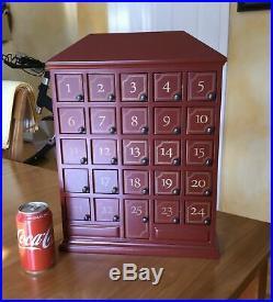 Restoration Hardware Christmas Advent Calendar Dark Red House with 25 doors EUC