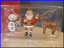 Retired Pottery Barn CLOISONNE CHRISTMAS ORNAMENT Set -Santa, Reindeer, Snowman