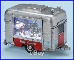 Retro Camper Trailer Rotating Musical Light Up Christmas Amusements Figurine
