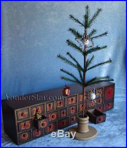 Retro Wooden Advent Calendar Count Down w Tree & Ornaments 1338
