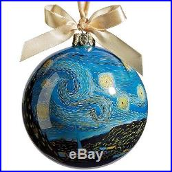 Reverse Painted Starry Night Blown Glass Ornament