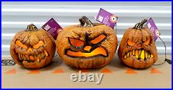 Rotten Patch LOT Jack o Lantern Flaming Pumpkin LED Light Up Halloween Decor SET
