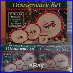 Royal Season Stoneware Christmas Snowman Snowflake Dinnerware SERVES 12 Set 48pc