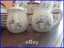 Royal Season Stoneware Christmas Snowman Snowflake Dinnerware SERVES 8 39 pc Set