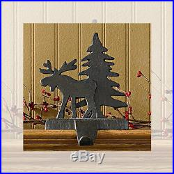 Rustic Moose and Tree Christmas Stocking Holder Hanger Heavy Cast Iron
