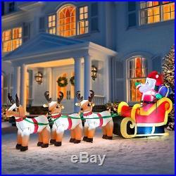 SALE 10 ft Airblown Inflatable Santa Sleigh Reindeer Outdoor Christmas Decor