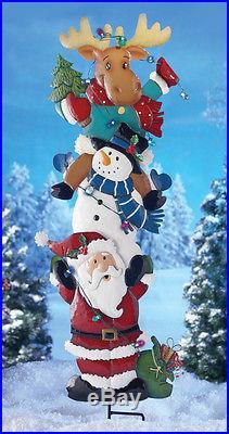 SANTA & GANG YARD STAKE LIGHTED CHRISTMAS OUTDOOR HOLIDAY YARD DECOR NEW
