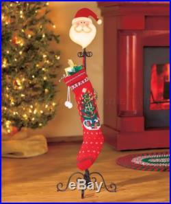 SANTA STANDING HOLIDAY STOCKING HOLDER CHRISTMAS HOME DECOR