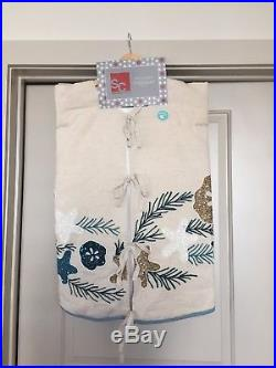 SC Kim Seybert Cream Blue White Gold Beaded Christmas Tree Skirt Beach Coastal