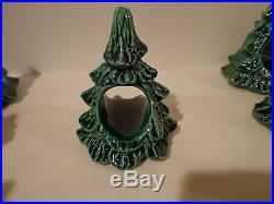 SET OF 16 CERAMIC CHRISTMAS TREE NAPKIN RINGS / TABLE DECOR
