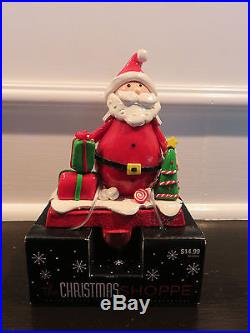 SET OF 2 BRAND NEW Santa Christmas Stocking Holder Hanger Metal Fireplace Hook