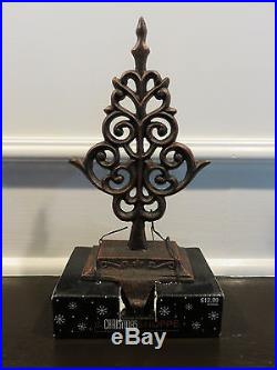 SET OF 2 NEW Cast Metal Christmas Tree Stocking Holder Hanger Fireplace Hook