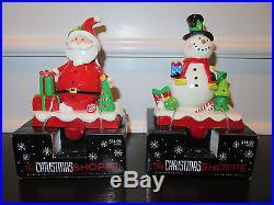 SET OF 2 NEW Santa & Snowman Christmas Stocking Holder Hanger Fireplace Hook