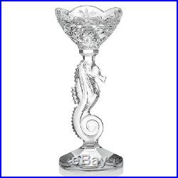 SET OF 2 Waterford Crystal 11.25 Seahorse Pillar/Taper Candlestick NIB