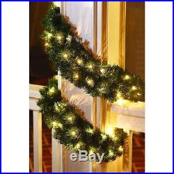 SET OF 4- Christmas Holiday 20 ft. Noble Fir Artificial Garland with 100 Clr Lts